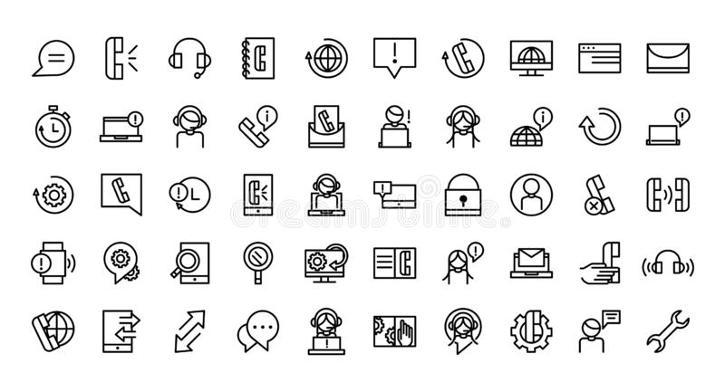 Call center service business icons collection line. Vector illustration royalty free illustration