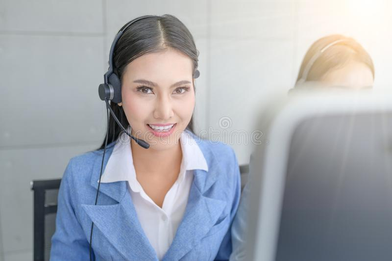 Help line answering and telemarketing. Call Center Service. Photo of customer support or sales agent.  Help line answering and telemarketing. Female caller or stock images