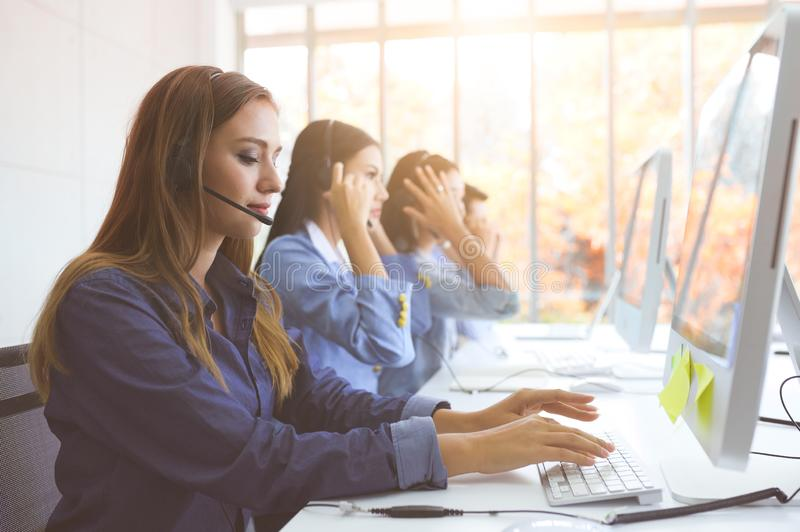 Help line answering and telemarketing. Call Center Service. Photo of customer support or sales agent.  Help line answering and telemarketing. Female caller or royalty free stock images