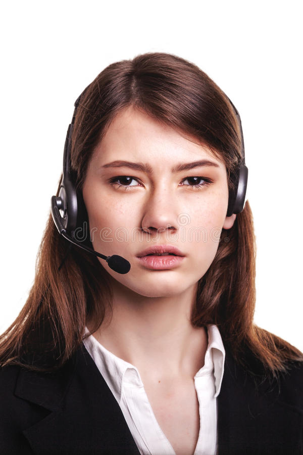Call Center support phone operator in headset – Stock Image. Call Center support phone operator in headset – Looking at camera and talking to stock image