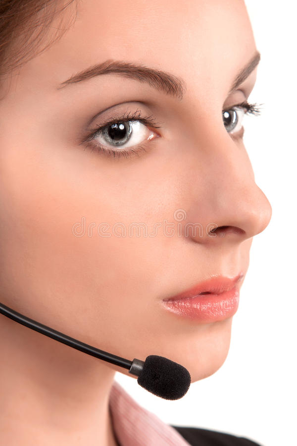 Call center support phone operator in headset isolated. Holding earphone royalty free stock photo