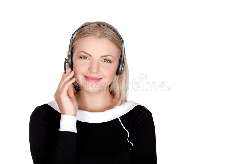 Call center support phone operator in headset isolated. Holding earphone stock image