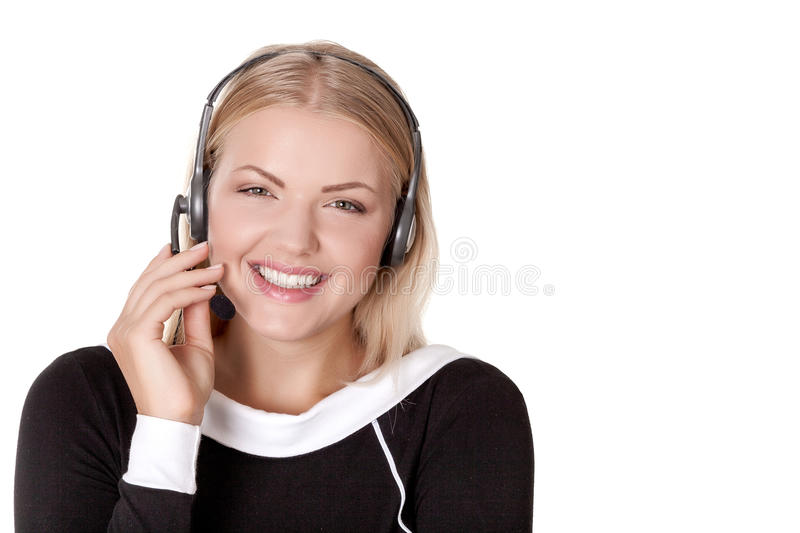 Call center support phone operator in headset isolated. Holding earphone royalty free stock photos