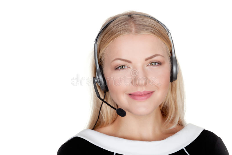 Call center support phone operator in headset isolated. Holding earphone royalty free stock photography