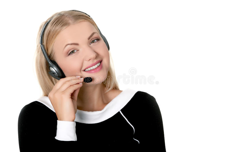 Call center support phone operator in headset isolated. Holding earphone royalty free stock images
