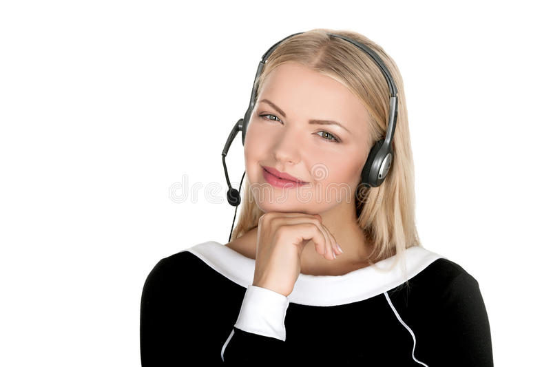 Call center support phone operator in headset isolated. Holding earphone stock photo