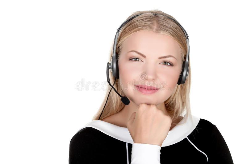 Call center support phone operator in headset isolated. Holding earphone stock photos
