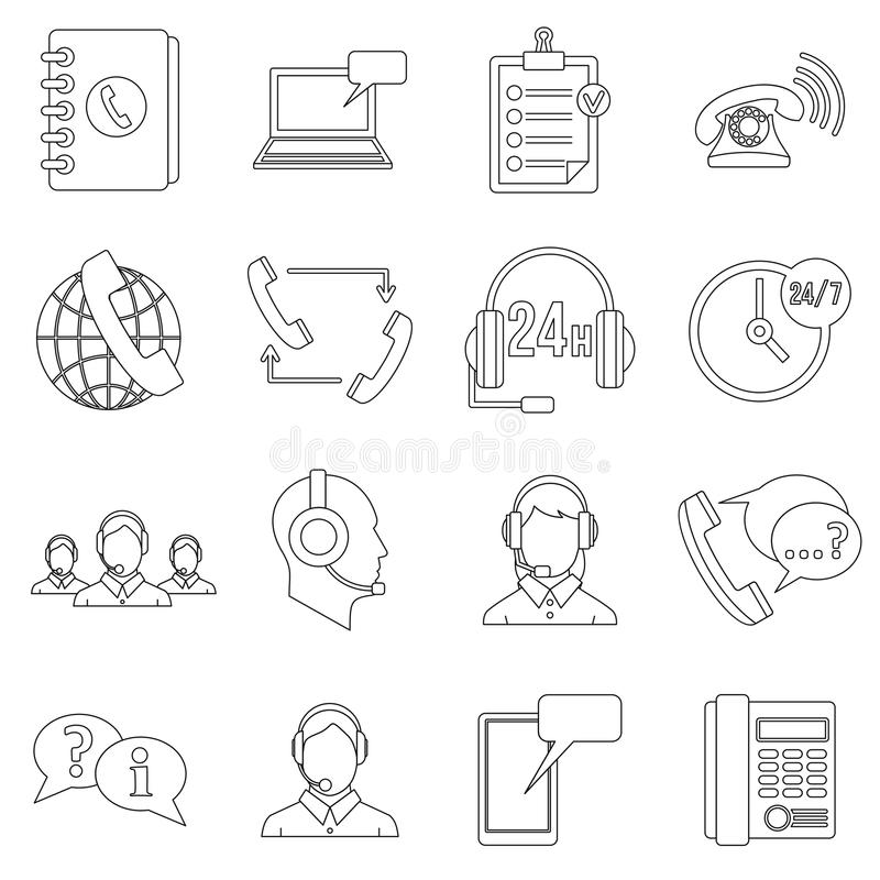 Call center symbols icons set, outline style stock illustration