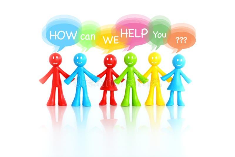 """Call-Center- und Kundenbetreuungskonzept, wenn die bunte Figürchen um """"how bittet, kann wir helfen you† in den Dialogfeldern lizenzfreies stockbild"""