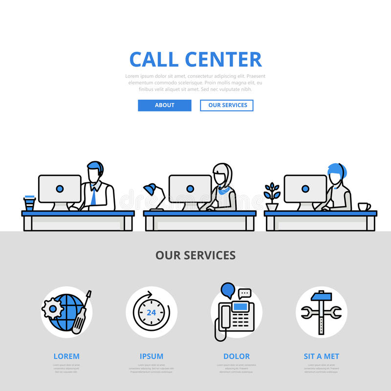 Call center user support office banner flat line art vector icon. Call center user support office workplace concept flat line art vector icon. Modern website vector illustration