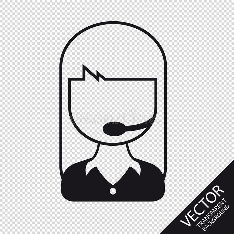 Call Center Woman - Flat Line Vector Illustration - Isolated On Transparent Background royalty free illustration