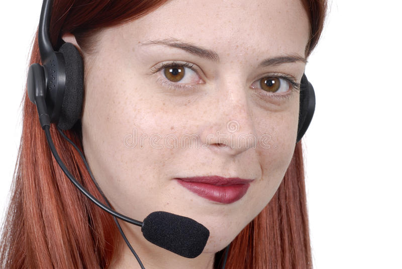 Female young adult call center woman telephone headset, close up, white background stock photography