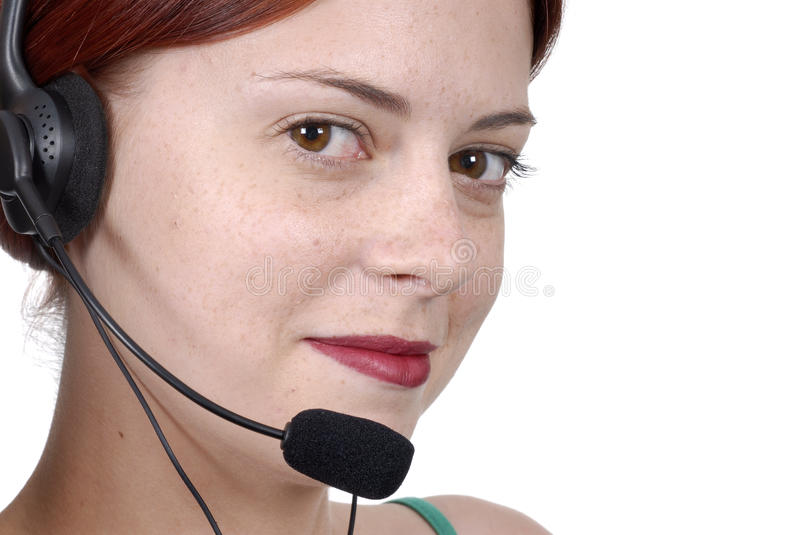 Call center female woman telephone headset close up, eyes, smiling, white background stock images