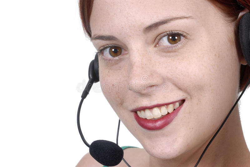 Close up call center female woman telephone worker, headset, smiling, white background stock images