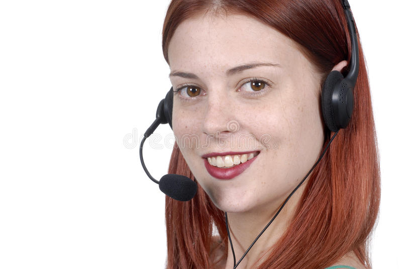 Call center young adult female woman telephone headset, smiling, listening, talking, close up royalty free stock photo