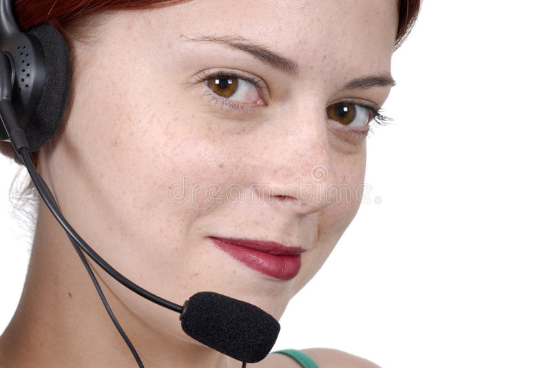 Young adult female call center woman telephone headset close up, white background stock photos