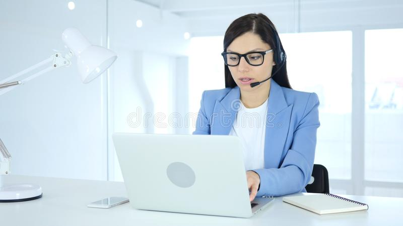 Call Center Woman Working On Laptop stock photos