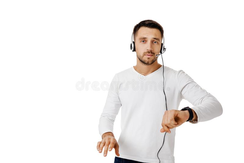 Call center worker man on white background. royalty free stock images