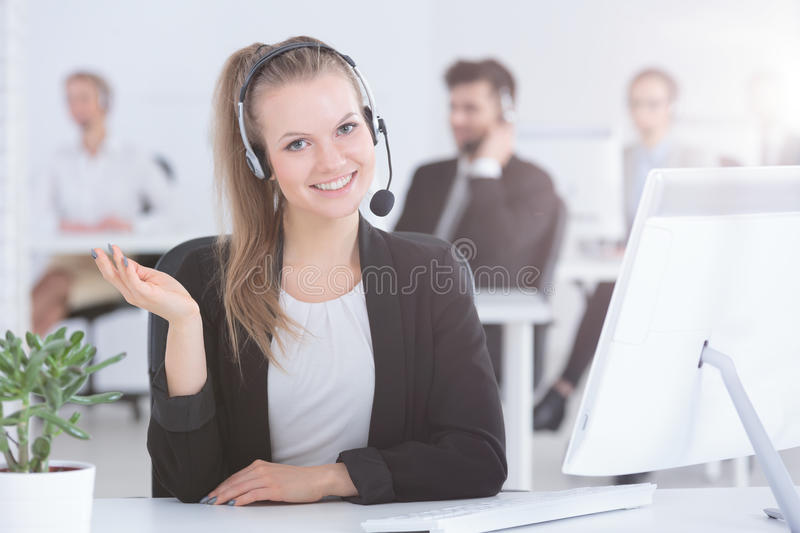 Call center worker royalty free stock photo
