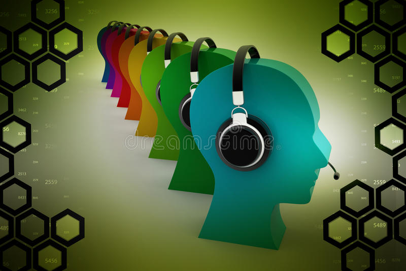 Call centre concept. In color background royalty free illustration