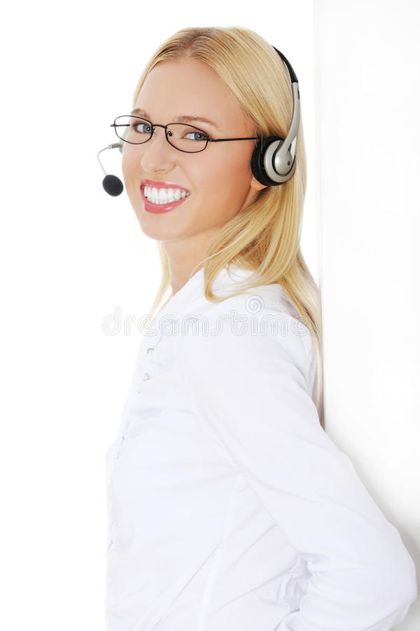 Call centre employee stock image