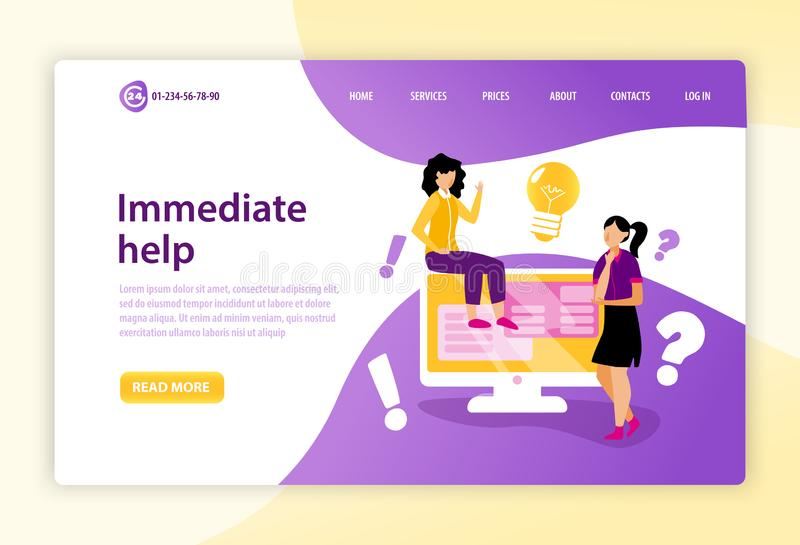 Call Centre Landing Page stock illustration