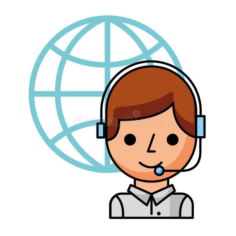 Call centrejongen met hoofdtelefoon en wereld stock illustratie