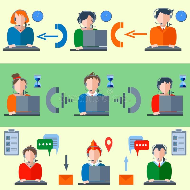 Call centreklok, enveloppen, hoofdtelefoons, mensen royalty-vrije illustratie