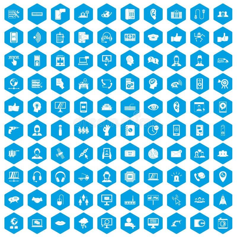 100 call centrepictogrammen geplaatst blauw vector illustratie