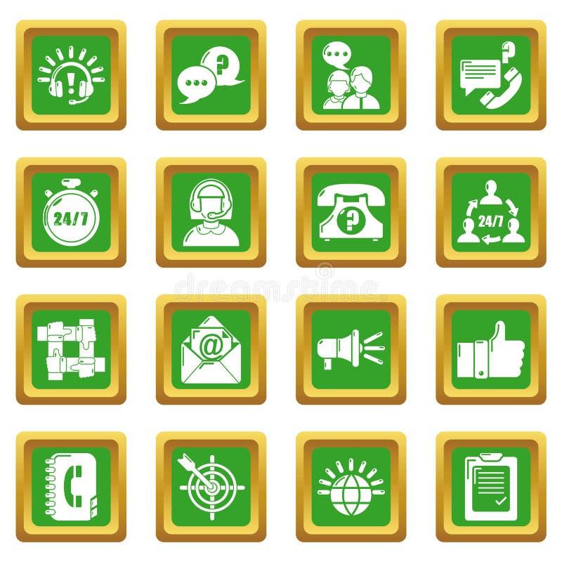 Call centrepictogrammen geplaatst groen vierkant vector illustratie