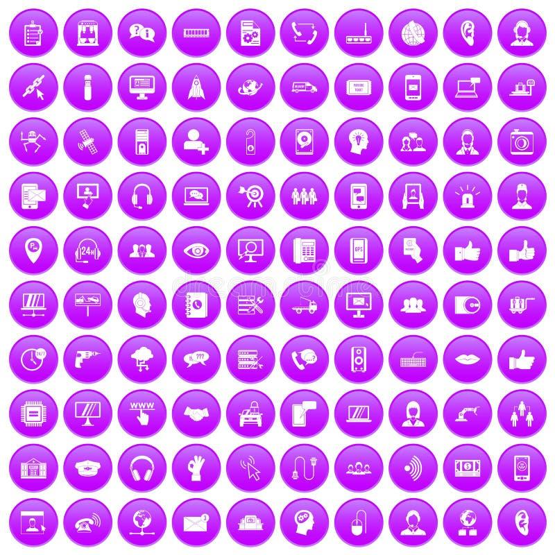 100 call centrepictogrammen geplaatst purper royalty-vrije illustratie