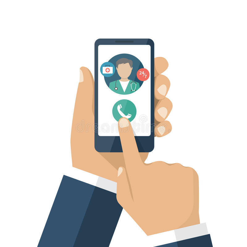 Call doctor vector. Call doctor. Medical advice online. Human calls doctor with a smartphone. Ambulance concept stock illustration