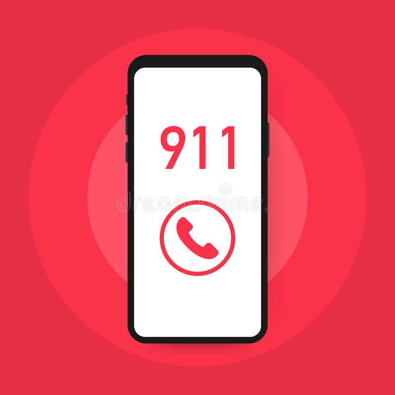 Call 911, emergency call concept. Hand holding smartphone, finger touching call button. Vector illustration. Call 911, emergency call concept. Hand holding vector illustration