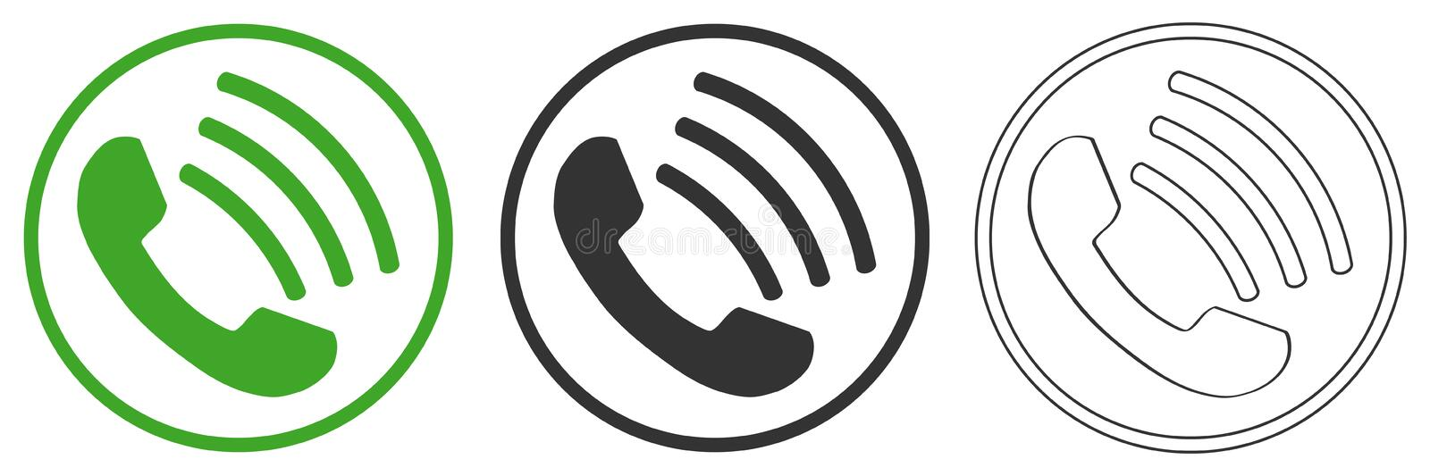 Call icon on the phone royalty free illustration