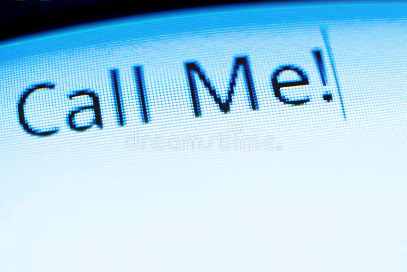 Call me. Mobile phone screen closeup with call me words typed on royalty free stock image