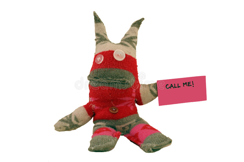 Call Me!. Handmade sock puppet demanding a call back (room for additional text on paper stock images