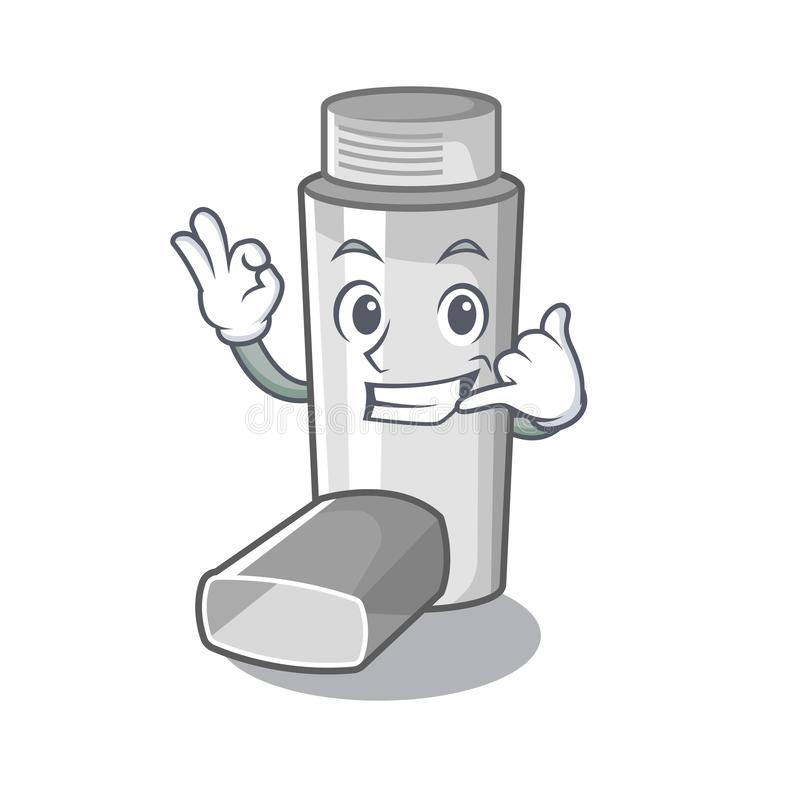 Call me asthma inhaler in the character bag. Vector illustration vector illustration