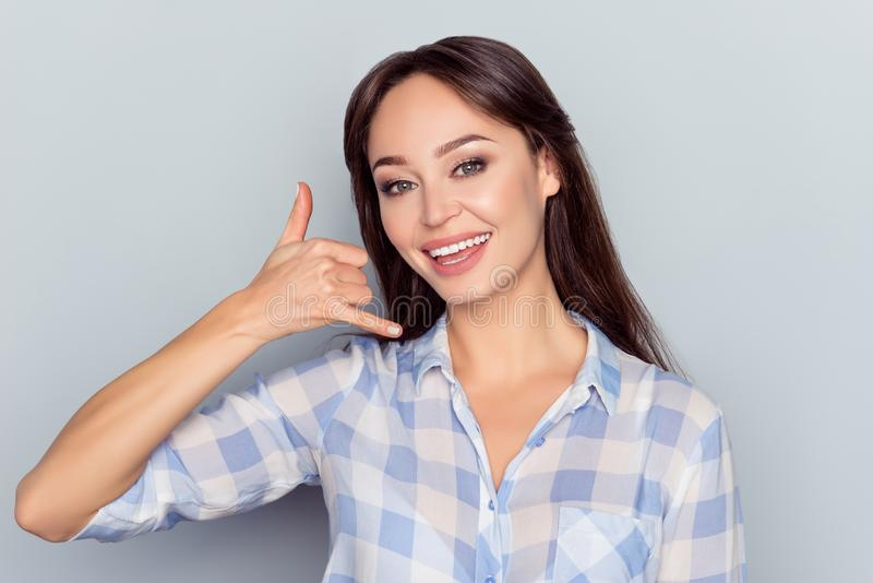 Call me, babe! Portrait of young, smiling, nice, perfect, smart stock photo