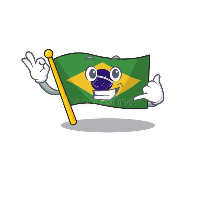 Call me brazil flag kept in mascot drawer. Illustration vector stock illustration