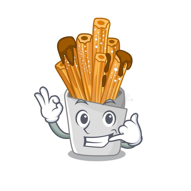 Call me churros in the wooden character jar. Vector illustration stock illustration