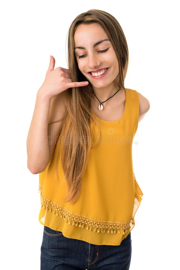 Call me gesture stock image