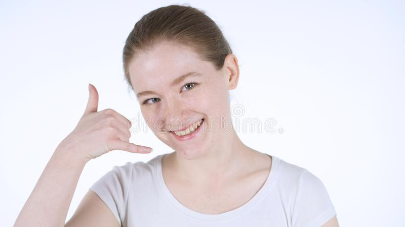 Call me Gesture by Redhead Woman, White Background stock photos