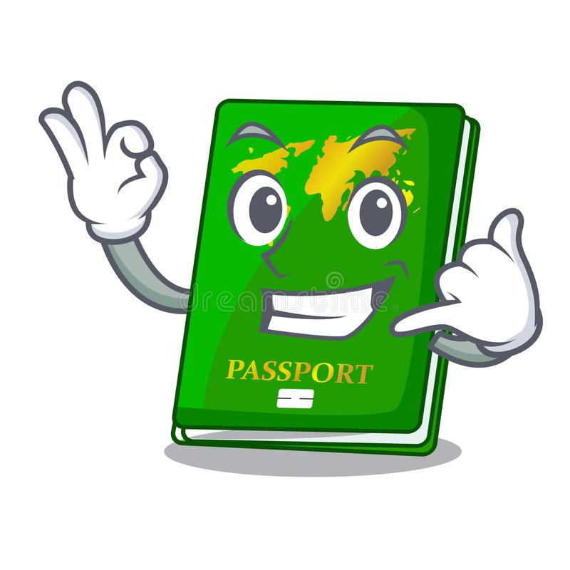 Call me green passport on the mascot table royalty free illustration