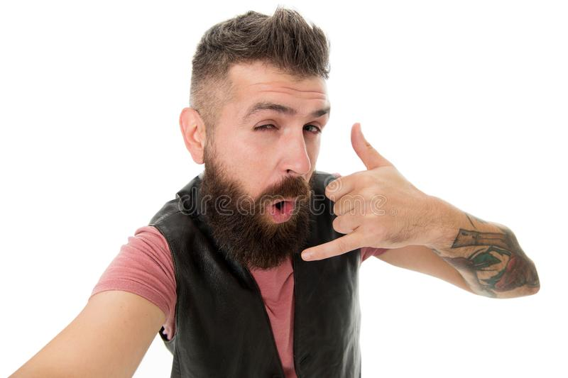 Call me later. Hipster with long beard symbol conversation. Mobile call. Mobile communication. Guy bearded hipster royalty free stock photography