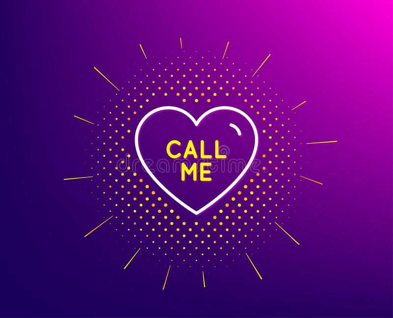 Call me line icon. Sweet heart sign. Valentine day love. Vector. Call me line icon. Halftone pattern. Sweet heart sign. Valentine day love symbol. Gradient royalty free illustration