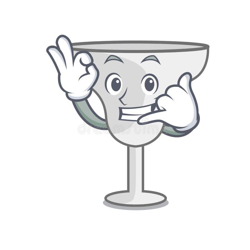 Call me margarita glass mascot cartoon. Vector illustration stock illustration