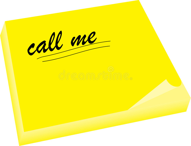 Call me note underlined royalty free illustration