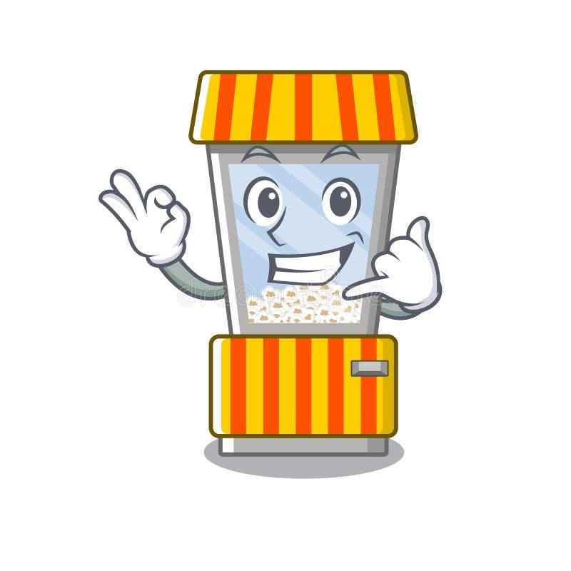 Call me popcorn vending machine in mascot shape. Vector illustration stock illustration