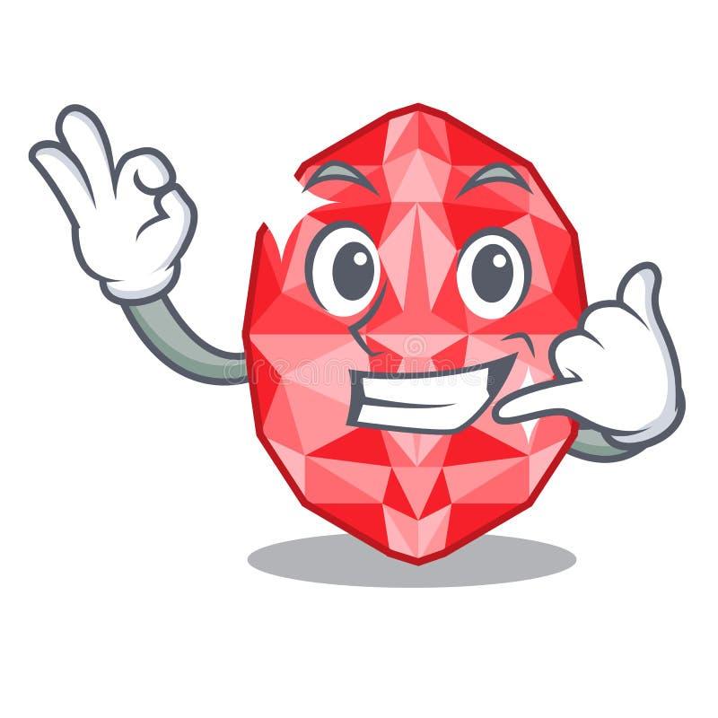 Call me ruby gems in the mascot shape. Vector illustration stock illustration