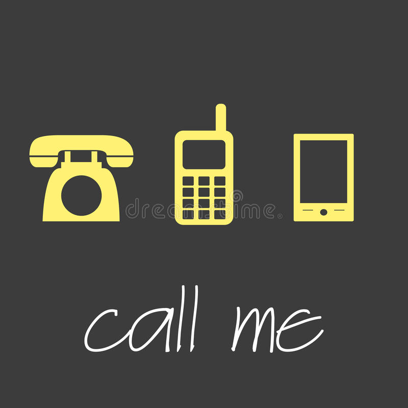 Call me with various telephone symbols simple banner stock illustration